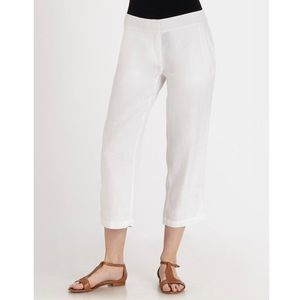 Eileen Fisher Cropped Linen Pants in White